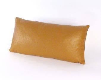 Tan Leather Pillow ~ Ostrich Embossed  Pillow ~ Small Leather Pillow ~ Tan Pillow ~ Brown  Lumbar Pillow ~ Tan Embossed Pillow - Tan Ostrich