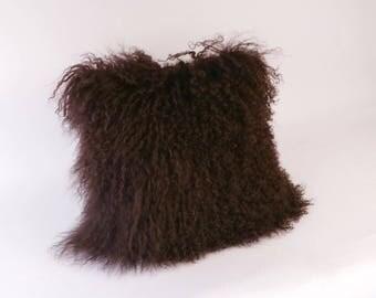 mongolian fur pillow brown fur pillow genuine mongolian lamb brown mongolian accent pillow