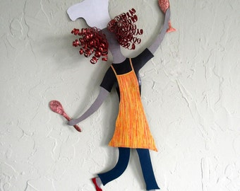 Kitchen Wall Art Lady Chef Sculpture Recycled Metal Wall Yellow Art Kitchen Sculpture Dancing Chef Wall Decor Red Head Custom Colors 14 x 21