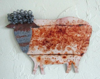 Metal garden art stake reclaimed metal sheep wall or stake folk art barnyard decor  6 x 8