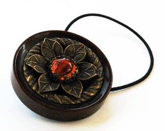 Dark Brown Elastic Ponytail Holder, Vintage Plastic Button Decorative Hair Accessory, Bronze Flower Motif, Sunburst Orange Center