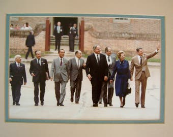 Vintage Matted Original 1983 Color Photograph of Ronald Reagan and Other World Leaders at Williamsburg  Virginia Summit
