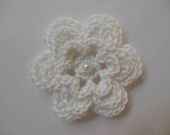 Crocheted Flower - White with Pearl - Cotton Flower - Crocheted Flower Applique - Crocheted Flower Embellishment