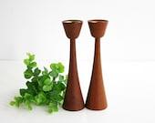 Mid Century Modern Wood and Brass Candlesticks / Danish Modern Turned Wood Candle Holders / Mid Century Teak Wood Candlesticks ESA Denmark