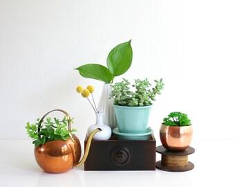 Mid Century Modern Pfaltzgraff Green Ceramic Planter / Pfaltzgraff Ringware Flower Pot / Aqua Green Ceramic Plant Pot with Saucer
