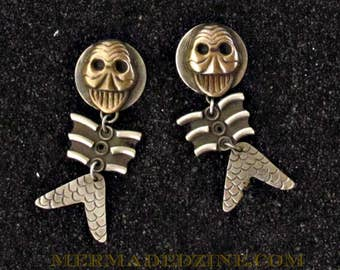 Fantastical Dancing Fish Skeleton  Earrings