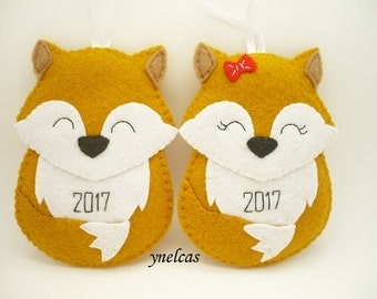 Fox Ornament Christmas Ornament Fox Felt Ornament Personalized for Boy and  Girl  ONE ORNAMENT