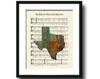 Texas Longhorns Art Print, UT Austin Fight Song, The Eyes Of Texas Are Upon You Song Lyric Sheet Music Art Print