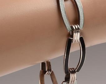 "FREE US SHIPPING - Art Deco Sterling Silver, Black and Pale Blue Enamel  Bracelet - oval links - 7.5"" length"