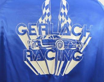 last chance Vintage GERLACH RACING satin baseball jacket USA made Large 1980's union made