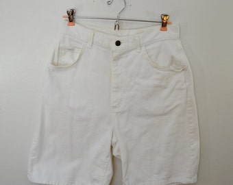 Vintage LEE white DENIM shorts JORTS made in usa size 12M high waisted