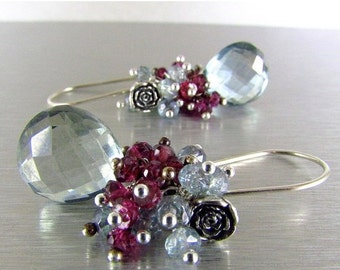25OFF Pale Blue Quartz With Rhodolite Garnet Sterling Silver Cluster Earrings