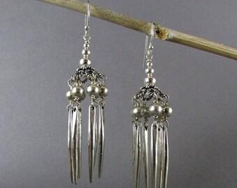 25OFF Sterling Silver Windchime Chandelier Earrings