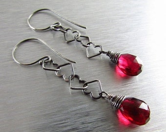 25% Off Red Quartz with Heart Chain Dangle Sterling Silver Earrings