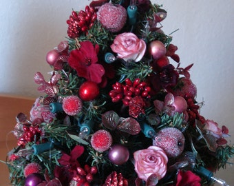 Tabletop tree - Roses and Berries Holiday Tree