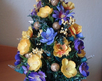 Tabletop tree - Violet and Yellow Flower Table Top Tree