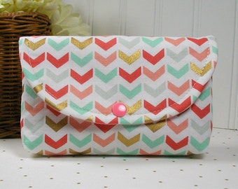 Snap Pouch, Large Snap Pouch, Cosmetic Pouch, Accessory Pouch...Broken Chevron in Mint, Coral and Gold