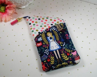 Sunglasses Zipper Case, Tulip Zipper Case, Eyeglasses Case, Pencil Pouch..Alice in Wonderland, Rifle Paper Co