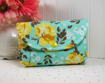 Snap Pouch / Large Snap Pouch / Cosmetic Pouch ... Primrose Garden in Aqua