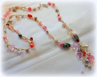 Shades of Pink Beaded Boho Necklace