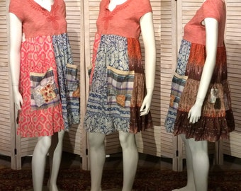 Upcycled Dress Embroidered Upcycled Clothing Junk Gypsy Peasant Tunic  Indian Florals Primitive Pockets n Patchwork Scrappy Patches Eco S
