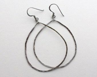 Big Sterling Silver Earrings. Oxidized Solid 925 Sterling Silver Hoops. Lightweight and Big Earrings, Antiqued Sterling Silver, Gunmetal