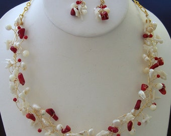 Red and White Coral and Mother of Pearl Wire Wrapped Bird's Nest Collar Necklace