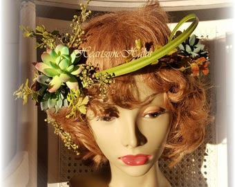 Succulent head wreath garland wedding bridal bride woodland fairy pixie elf costume decor
