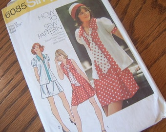 1973 Unlined jacket, short one piece dress and tie, Simplicity Pattern 6085