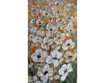 White Flowers Original Painting Oil Impasto Large Canvas Abstract Floral Art Ready to Ship 40x20