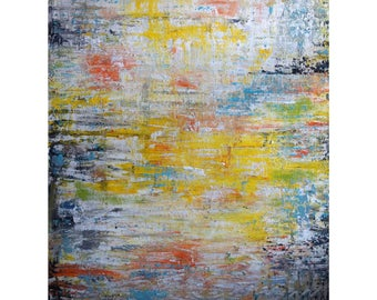 Abstract Large Painting, Gray White, Black abstract, Yellow White Grey painting, Original ART The SKY is the LIMIT by Luiza Vizoli
