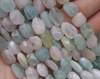 3 Aquamarine Morganite faceted gemstone flat oval beads -  lot of three drilled stones - pink blue green beryl crystal polish coyoterainbow