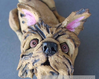 Brussels Griffon Ceramic Dog Sculpture