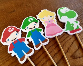 Super Bros. Party - Set of 12 Assorted Double Sided Cupcake Toppers by The Birthday House