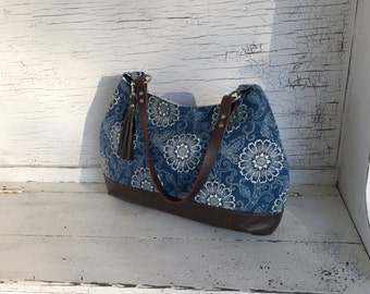 Large Indigo Floral & Dark Brown Leather Slouch Purse,  Diaper Bag, Computer Bag, Shoulder Bag
