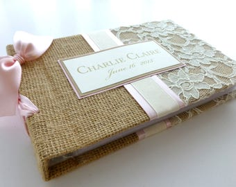 Baby Book-Burlap and lace-choose your ribbon color