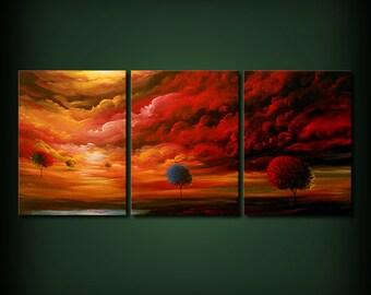 "red wall art painting landscape lollipop trees nursery decor dr. seuss childrens art painting 54"""