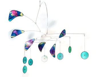 Art Mobile Hand Painted One of a Kind Kinetic Mobile Sculpture for the Art Lover READY TO SHIP Featuring Purples and Aqua Teals by Skysetter