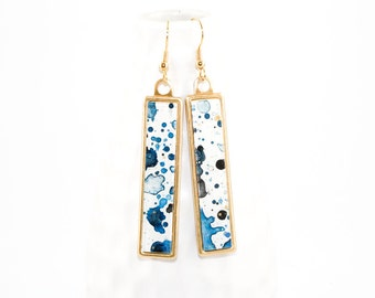 Splatter Painted Dangle Earrings - Acrylic in Long Brass Rectangle Setting - Ethereal Ink Colorway: Cobalt, Navy, Black, Gold, White