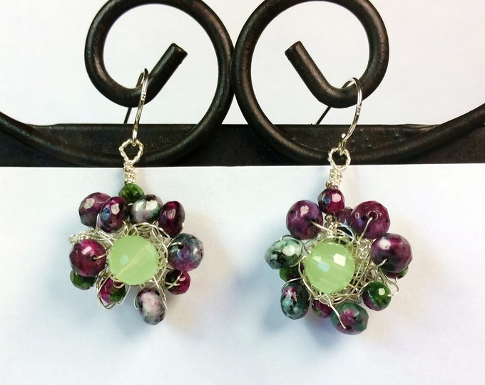 Purple and Green Ruby in Zoisite and Aventurine Wire Crocheted Earrings