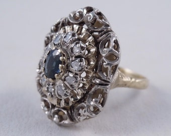 Antique 18K Rose Cut Diamonds and Sapphire Large Cocktail Ring Size 7