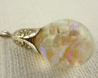 1920s Horace Welch 14K White Gold Floating Opal Pendant