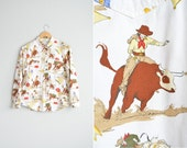 Size M/L // RODEO PRINT OXFORD // Long Sleeve Button-Up Shirt - Western - Novelty Print - Vintage '80s.