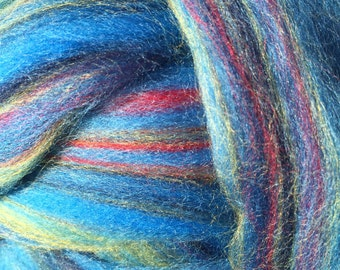 Bermuda multi-colored Merino combed Top for spinning- 8 ounces