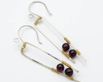 Geometric garnet dangle earrings