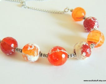 Fire Agate Necklace, Bib Necklace, Chunky Necklace, Statement Necklace, Handcrafted Jewelry, Orange Gemstone
