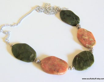Bib Necklace, Raw Rhodochrosite and Jasper, Statement Necklace, Chunky Necklace, Handcrafted Jewelry, Pink and Green