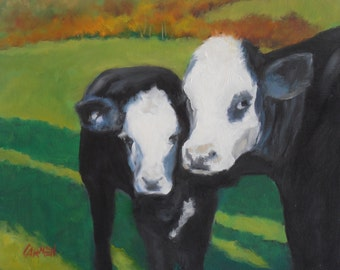 Cow Love, Animal Painting, 8x10 Oil on Canvas Panel