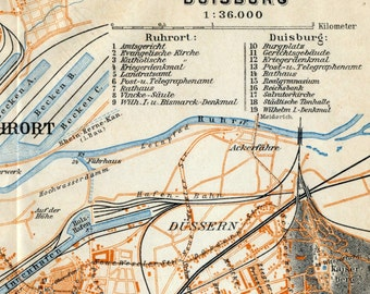 Antique Map of Duisburg, Germany - 1909 Duisburg Map