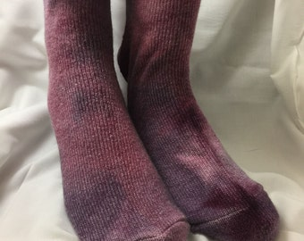 Angora socks, Cranberry Mauve Pink  Extra L 14-15 , Ankle Tall. Valentine's Day gift